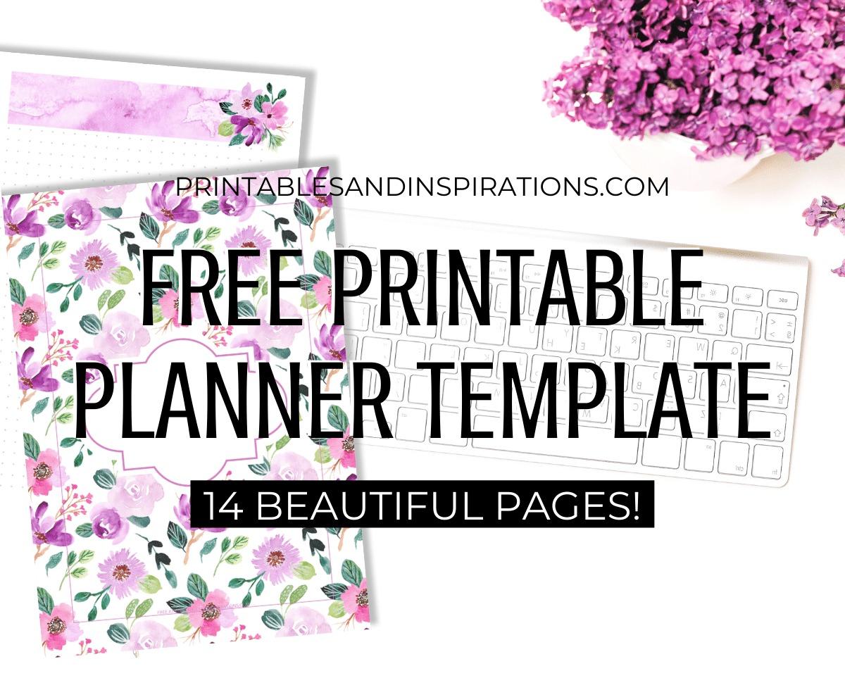 Printable Planner Template - free printable purple planner, bullet journal #freeprintable #printablesandinspirations #bulletjournal #planneraddict #purple