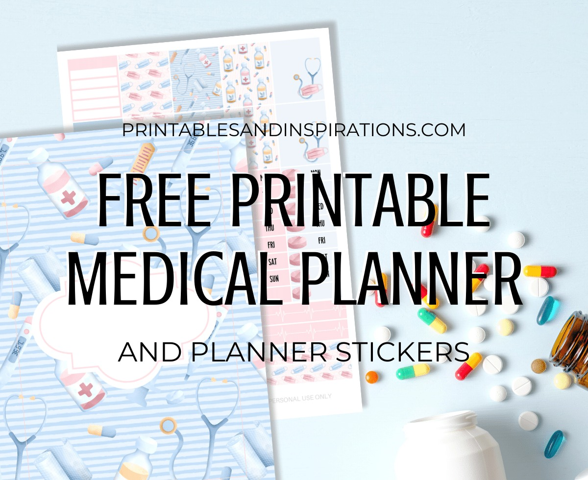 Free Printable Medical Themed Planner - medical planner stickers, monthly calendar, habit tracker, and other bullet journal printable pages. #freeprintable #printablesandinspirations #planneraddict #bulletjournal #plannerstickers