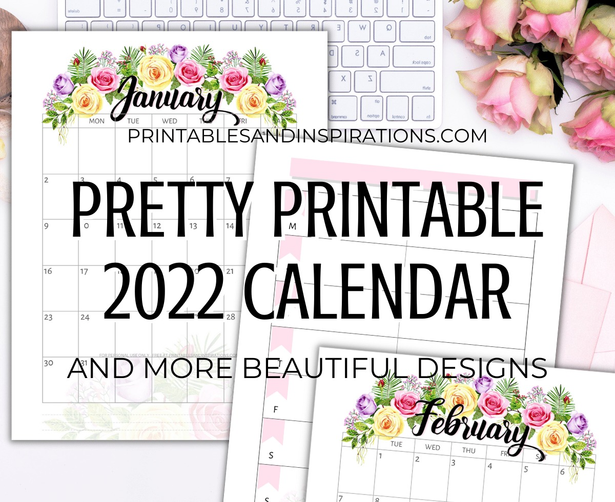Free Printable 2022 Calendar - pretty monthly calendar for 2022 plus weekly planner. Get your downloadable pdf now! #freeprintable #printablesandinspirations